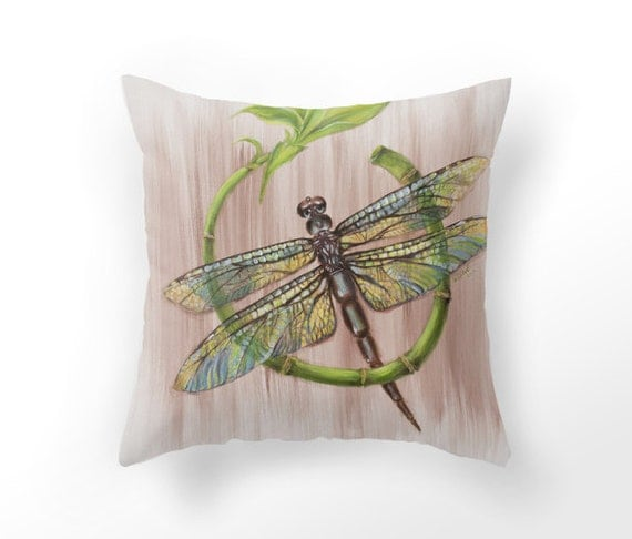 Items Similar To Decorative Throw Pillow Cover Dragonfly