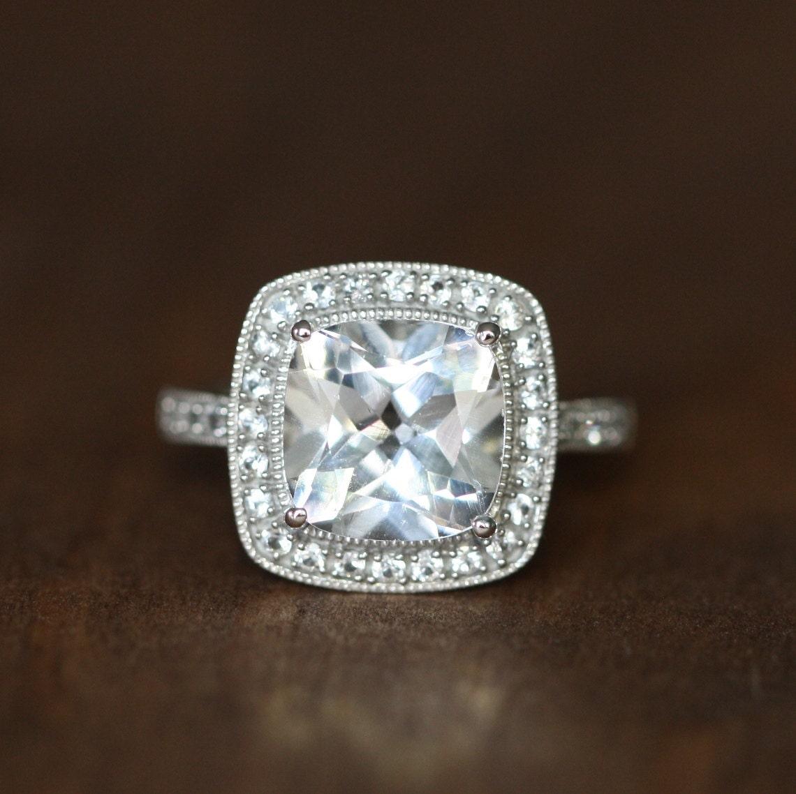 Vintage Inspired White Topaz Halo Engagement Ring In 14k White