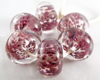 Multicolor Dark Encased SRA Lampwork Handmade Artisan Glass Donut/Round Beads Made to Order Set of 6 10x15mm