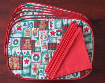 Six Hand Quilted Christmas Placemats in a Teddy Bear Print with Matching Napkins