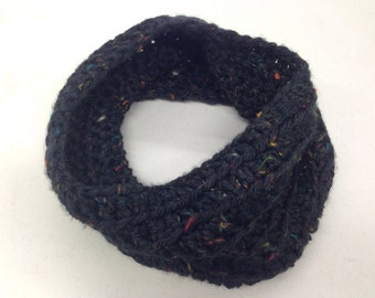 Short Chunky Cowl - 100% Handmade Crochet, Color: Cambridge Tweed