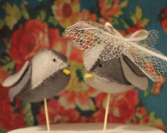 Handmade Felt Lovebird Cake Toppers - Pair of grey birds, with your choice of accessories