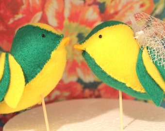 Handmade Felt Lovebird Cake Toppers - Pair of yellow and green birds, with your choice of accessories
