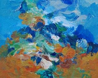 Abstract Painting Blue Orange and White