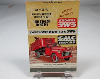 GMC Truck Advertising Matchbook Cover Palomar Motors Escondido CA Vintage Truck Vintage Advertising Matchbook Vintage Matchbook Cover