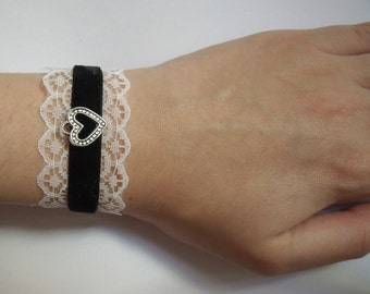 Black Heart Bracelet Lace Lolita Goth White French Maid
