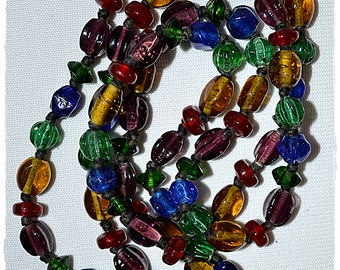 Vintage Long Hand Knotted Jewel Tone Czech Art Glass Bead Necklace