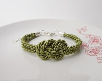 nautical bracelet, knot bracelet,sailor bracelet in olive green,frienship bracelet, infinity jewelry, gratuation gift