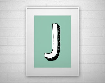 Typography Art Print - J - Letter poster - Printable - Wall Art