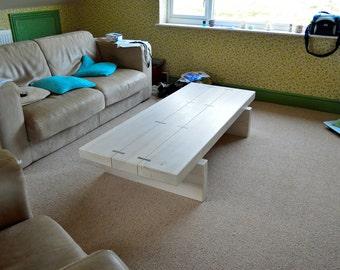 Driftwood slab coffee table