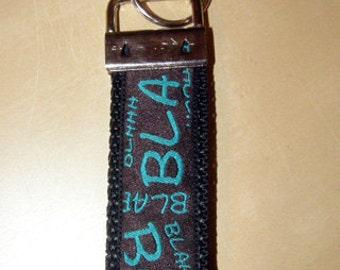 "Key fob ""Bla Bla"" Turquoise/Brown"