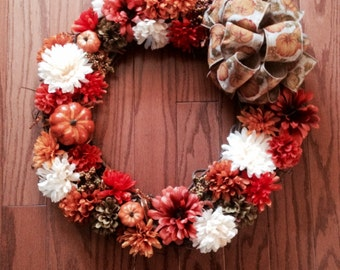 Mums and Pumpkins Fall Wreath