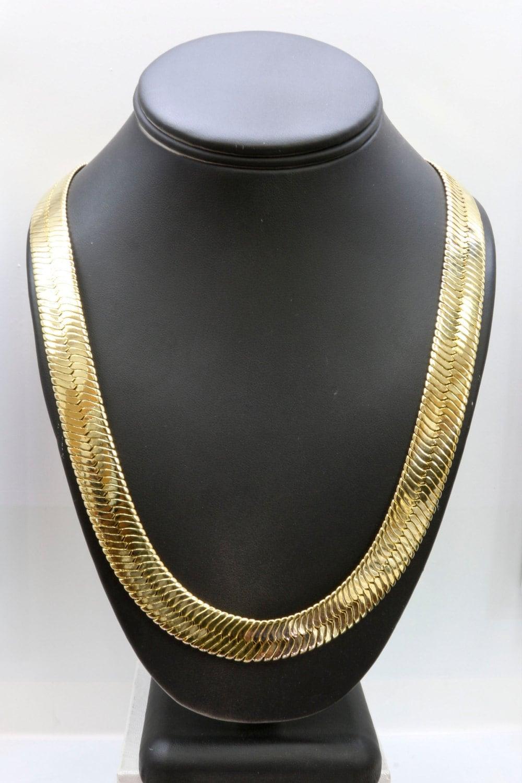 gold 14mm herringbone necklace by 21centuryjewelry on etsy