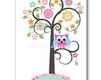 Tree Nursery Owl Nursery Digital File Children Art Kids Wall Art Baby Girl Room Decor Baby Girl Nursery 8x10 11X14 INSTANT DOWNLOAD Rose