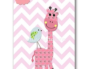 Giraffe Nursery Digital Print Printable Art Baby Girl Nursery Children Art Kids Wall Art Baby Girl Room Decor 8x10 11X14 INSTANT DOWNLOAD