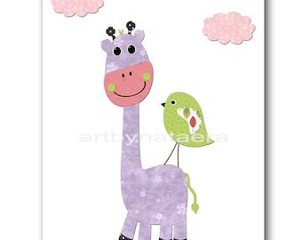 Giraffe Nursery Art Baby Nursery Print Baby Girl Nursery Decor Printable Print Digital Download Print 8x10 11X14 INSTANT DOWNLOAD Lavender