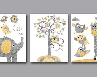 Elephant Nursery INSTANTGiraffe DOWNLOAD Art Digital Art Digital Art Baby Boy Nursery Art Download Digital Download Art set of 3 8x10 11X14