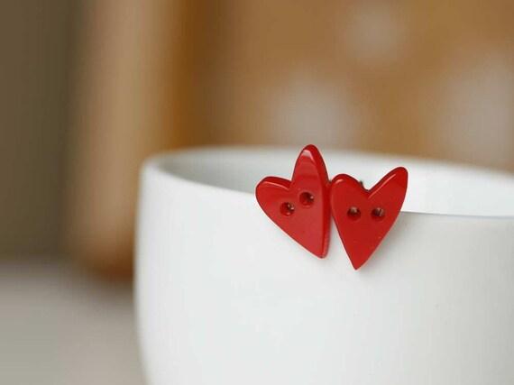 FMJ Creation: you break my heart. heart shape button earrings.