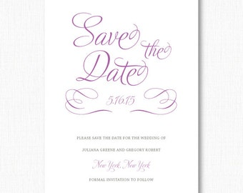 Script Save the Date, Whimsical Save the Date, DIGITAL FILE