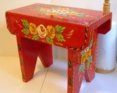 Hand-Painted Traditional Canal Art ~ Handmade Wooden Cabin Stool