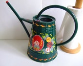 Hand-Painted Traditional Canal Art ~ Small Watering Can or Vase / Planter