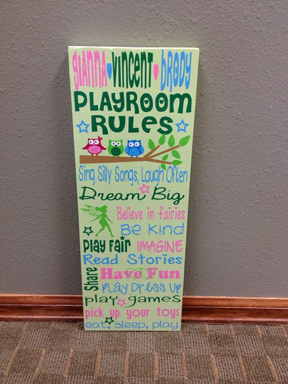 Personalized Wooden Child Playroom Rules-Triplets