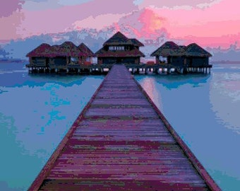 Large Size Sunset at Maldives Cross Stitch Chart
