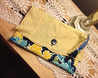 Cotton wristlet clutch. Fun coordinating fabrics, some recycled clothing pieces used!