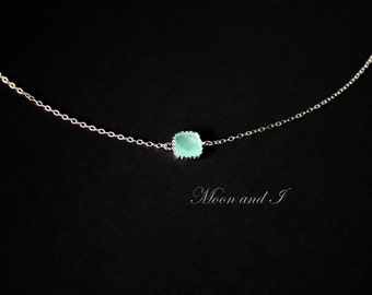 Petite Teal Necklace Sterling Silver, bezel stone necklace, aquamarine aqua necklace, birthday Mothers Day gift ideas for mom sister wife