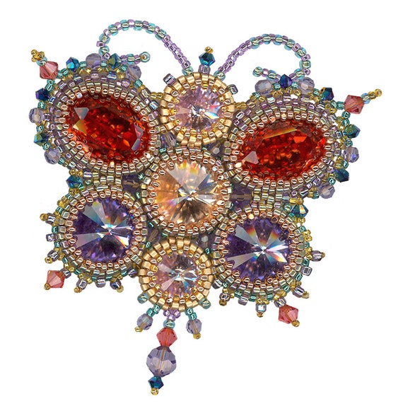 Papillon Beaded Pendant or Brooch instant download pattern, 2.5 x 3 inches, peyote stitch bezels on crystal cabochons