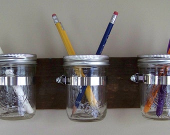 "Mason Jar Wall Decor / Hanger / Planter / Caddy / Organizer; 3 Mason Jars; Recycled / Reclaimed / Salvaged Wood; 15"" x 3.5"""
