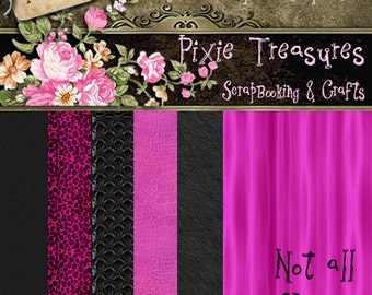 Pink Leopard Papers Scrapbooking Papers Digital Papers