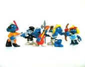Set of 6!  Retro Smurfs Toys, Smurf Figurines, Vintage Smurfs, 1980s Smurfs, Original Smurf Toys, Set of Smurf Toys, 1980s Toys, 80s Toys