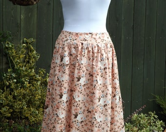 Peach Floral Cotton Skirt with Front and Side Pockets - UK 8