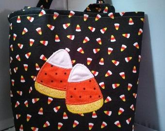 Candy corn Halloween tote