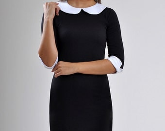 Black mini dress Short sleeve Peter pan collar Dress day classic contrast color LBD Аutumn winter dress.