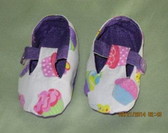 Girls Mary Jane Style Fabric Baby Booties: Item 0033