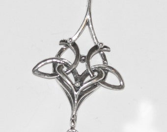 Elegant Celtic Lovebirds Pendant Sterling Silver Celt057