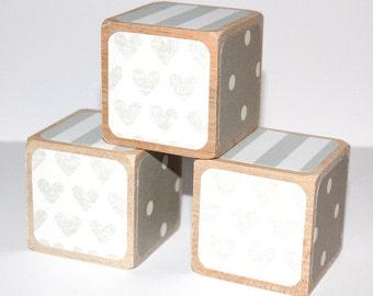 Children's Wooden Blocks - Baby Blocks - Shabby Chic - Gray Nursery Decor - Baby Girl - Baby Boy - 2 Inch All Hardwood Blocks