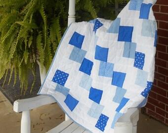Blue Baby Quilt / Modern Baby Quilt / Baby Boy Patchwork Quilt