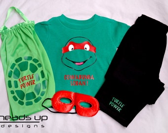 Ninja Turtle Toddler Personalized Ninja Turtle Cape Set - Boy Girl Ninja Turtle Costume Baby - Super Hero Cape Set Kid -