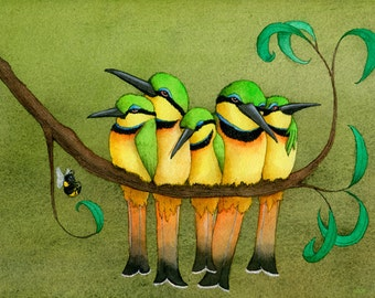 Little Bee-Eaters Matted Print