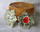 Bun Warmer Basket with Ceramic Inserts - Handmade - Handpainted Pottery