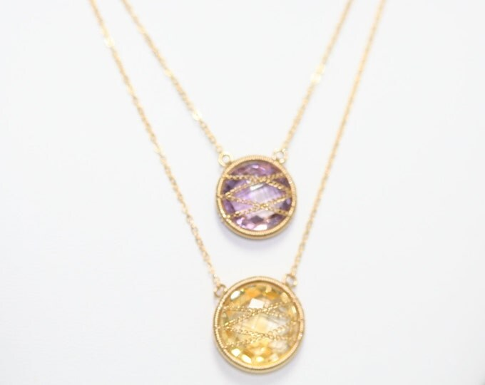 Amethyst Citrine 10k Gold chain and Wire wrap Necklace 00107877