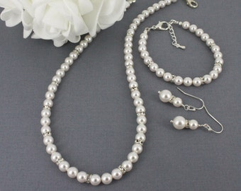 Swarovski Necklace, Bracelet and Earrings Set, Bridesmaids Gifts, Bridal Jewelry, Swarovski Jewelry Set, Available in White or Cream Pearl