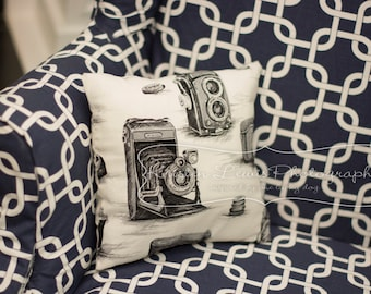 Black and White Film Camera Pillow