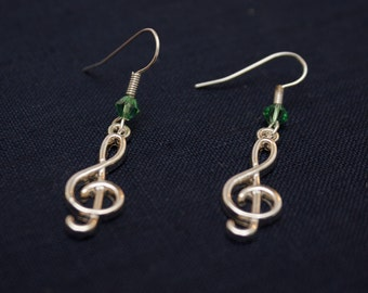 Spring Green Swaroski Bead and Treble Clef Charm Earrings