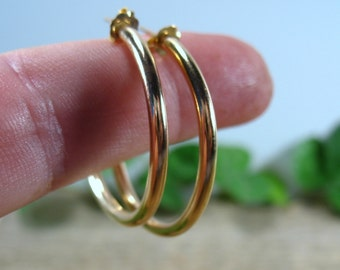 Hoop Earrings Gold Plain - 1 Inch Hoops, 2 Inch Hoops, 3 Inch Hoops, Big HoopEarrings, Post Hoops, Gold Hoop Earrings, Polished