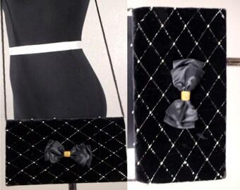 Vintage 90's Black Velvet God Studs With Bow Rectangle Evening Bag