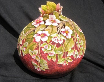 Apple Blossom Carved Gourd